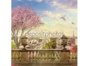 Фотообои «Панорама Парижа с цветущим деревом»