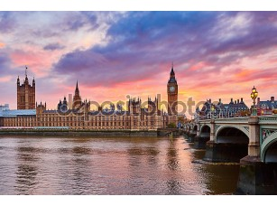 Фотообои «Биг-Бен и Вестминстерский мост на закате»