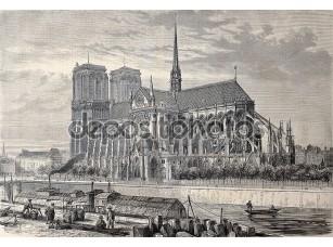 Фотообои «Античная иллюстрация собора Парижской Богоматери»