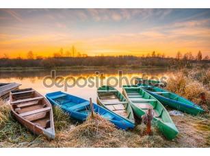 Фотообои «River and old rowing fishing boats at beautiful sunrise sunset»