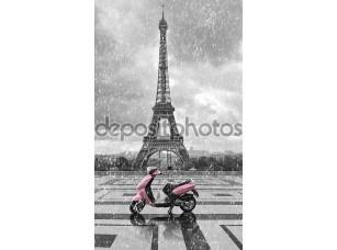 Фотообои «Эйфелева башня в дождь с розовый скутер Парижа. черный и w»