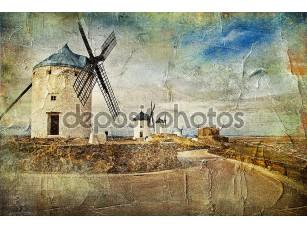 Фотообои «Ветряные мельницы в Испании - картина в стиле живописи»