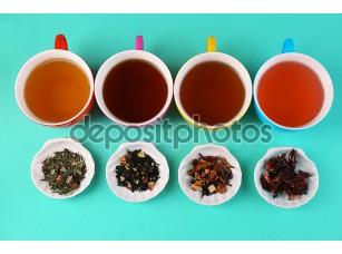 Фотообои «Ассортимент чая на фоне цвета»