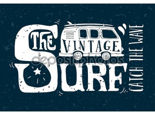 Фотообои «Vintage summer surf print with a mini van and 70s style hand let»