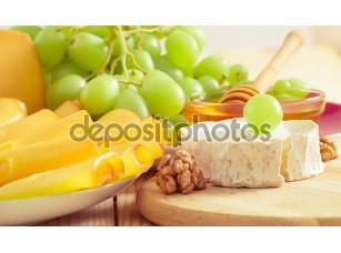Фотообои «Still life with cheese, walnuts, honey and grapes»