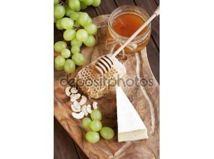 Фотообои «Still life with cheese, grape and honey»