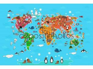 Фотообои «World map with animals. Vector illustration in cartoon style»