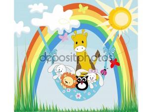 Фотообои «Baby животных на радуге»