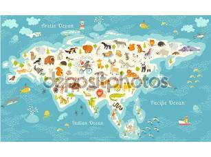 Фотообои «Animals world map, Eurasia»