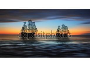 Фотообои «Два плывущих корабля»
