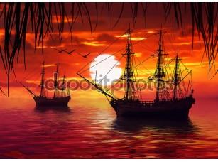 Фотообои «Два корабля на фоне заката»