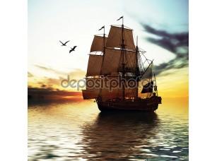 Фотообои «Две птицы и корабль»