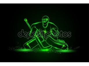 Фотообои «Hockey goalie, neon style»