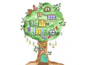 Фотообои «Акварель сказочный дуб дерево с windows, гирлянды, лампы, флаги.»