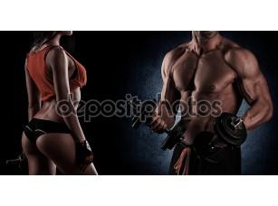 Фотообои «бодибилдинг. сильный человек и женщина, позирующая на черном backgroun»