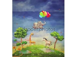 Фотообои «Group of happy cartoon animals in the garden»