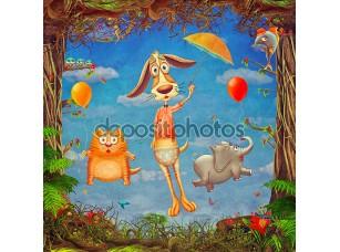 Фотообои «Beautiful woodland scene of spring frame with cute animals in cloudy sky»