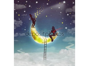 Фотообои «Silhouette illustration of a girl sitting on moon and boy playing the saxophone»