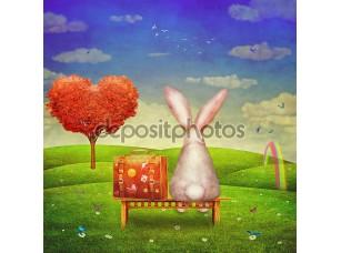 Фотообои «Sad rabbit with suitcase sitting on the bench on the glade»