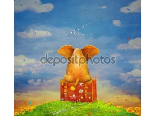 Фотообои «Elephant sitting on the suitcase on the glade ,illustration art»
