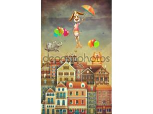 Фотообои «Illustration of cute houses and animals in sky»