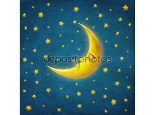 Фотообои «Retro illustration of night time with stars and moon ,background art»