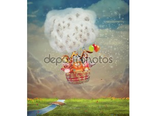 Фотообои «Animals in the air balloon over green field in the sky»