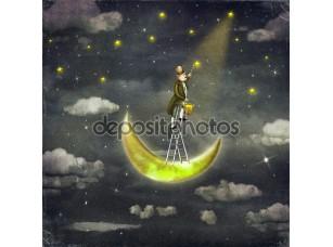 Фотообои «Man draws stars at top of tall ladder in dark sky»