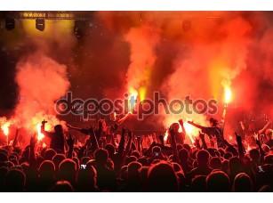 Фотообои «ликующие толпы на концерте, музыкантов на сцене»