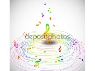 Фотообои «Красочная музыка фон с нотами летать. Вектор»