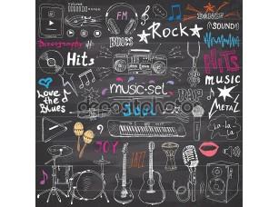 Фотообои «Music items doodle icons set.»