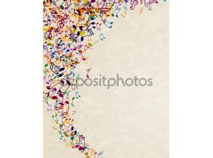 Фотообои «красочные музыкальные примечания»