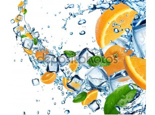 Фотообои «Апельсины в плеск воды»