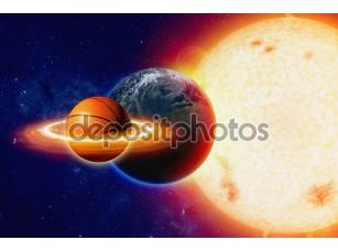 Фотообои «Баскетбольный мяч в космосе»