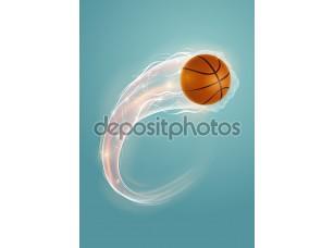 Фотообои «Баскетбольный мяч на голубом фоне»
