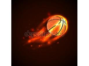Фотообои «Баскетбол на огне. Вектор»