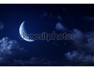 Фотообои «Большая Луна и звезды в небе облачно ночь Голубая»