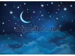 Фотообои «Векторный фон неба ночью звёзды и Луна.»