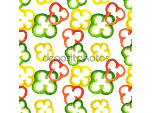 Фотообои «Seamless pattern with watercolor red, yellow and green pepper rings»