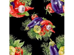 Фотообои «Акварель овощи бесшовный фон»