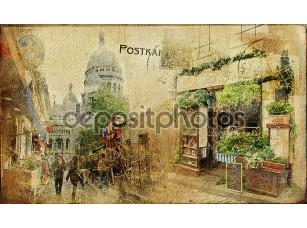 Фотообои «Старинный Парижский карт серии - улице Монмартр»