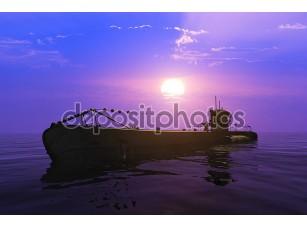 Фотообои «Военный корабль в воде»