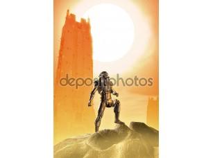 Фотообои «астронавт солдат на красной планете пришельцев»
