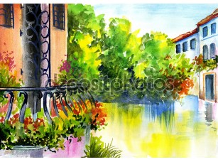 Фотообои «Акварельная живопись - цветы возле дома»