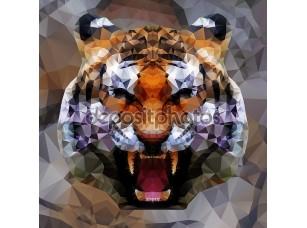 Фотообои «Голова тигра треугольников»
