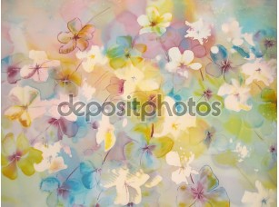 Фотообои «Абстрактные Цветы в мягких пастельных тонах.»
