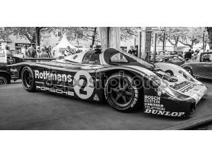 Фотообои «Racing car Porsche 956 designed by Norbert Singer, 1982. Black and white. The Classic Days on Kurfuerstendamm.»