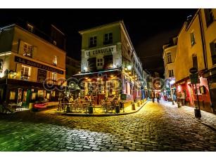 Фотообои «вид типичного парижского кафе le консульства на Монмартр, Франция»