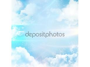 Фотообои «Абстрактный фон с облаками и цифровые линии»