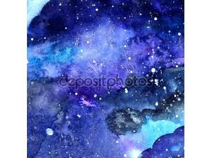 Фотообои «акварельная структура пространства с пылающими звездами. ночное звездное небо с ударами краски и плеском. векторная иллюстрация.»